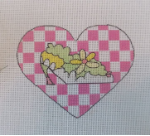 Shoe in Pink Checked Heart