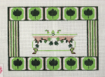 Footed Bathtub  Green Border Needlepoint Canvas - 18 ct