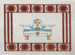 Footed Bathtub Red Border  Needlepoint Canvas - 18 ct