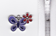 Butterfly Charm - Lavender with Red Flower