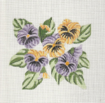 Pansies  Needlepoint Canvas - 18 ct