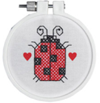 Beginner:  Lady Bug Stamped Cross Stitch Kit