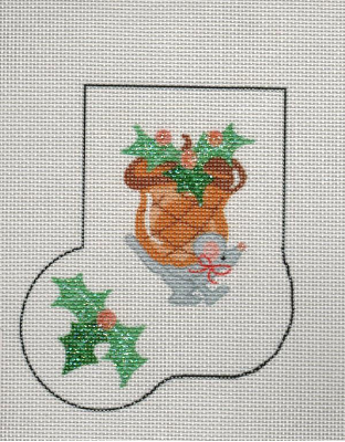 Acorn Mini Stocking With Holly