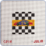 Race Car 24 Needlepoint Canvas 10 ct